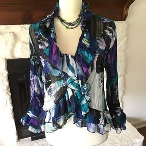 AGORA RUFFLES AND SEQUINS PRINT BLOUSE SIZE MP